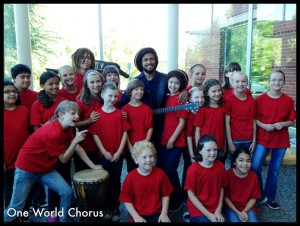 Aaron with kids  from the Portland area One World Chorus. Photo by  Melissa Heinonin